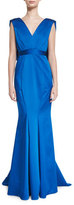 Zac Posen Sleeveless V-Neck Satin Mermaid Gown, Bluebell