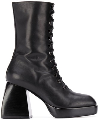 Nodaleto Lace-Up Heeled Boots