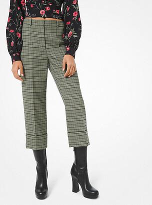 Michael Kors Plaid Stretch-Wool Cuffed Trousers