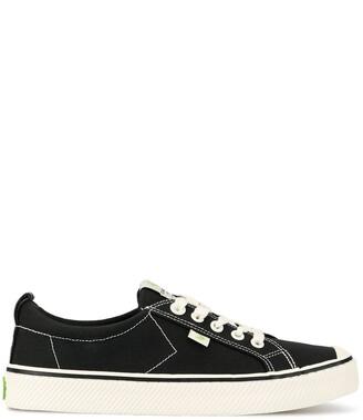 Cariuma OCA Low Stripe Washed Black Canvas Contrast Thread Sneaker