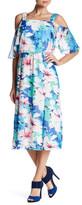 Nine West Cold Shoulder Printed Midi Dress