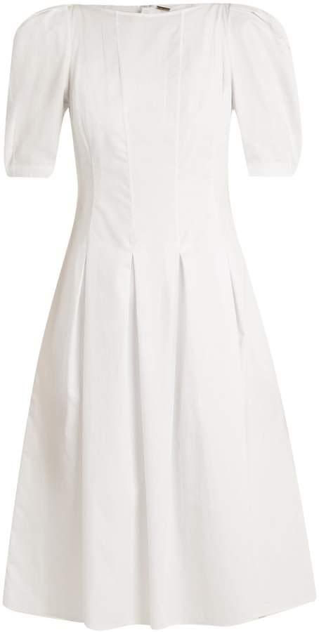 ADAM by Adam Lippes Puff-sleeved cotton midi dress
