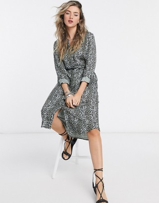 Vero Moda tie waist shirt dress in green