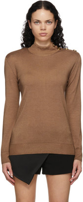 Balmain Brown Wool and Silk Turtleneck