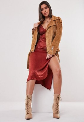 Missguided Tan Faux Suede Boyfriend Biker Jacket