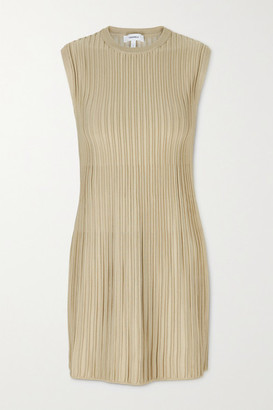 CASASOLA Net Sustain Marina Ribbed Stretch-knit Mini Dress - Beige