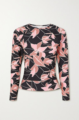 Beach Riot Undercover Floral-print Rash Guard - Black