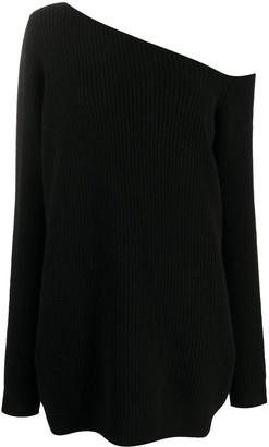 GAUGE81 oversized asymmetrical shoulder cashmere jumper