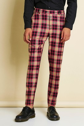 boohoo Mens Pink Skinny Bright Check Smart Trouser, Pink