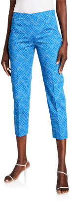 Piazza Sempione Audrey Windowpane Stretch Cotton Crop Pants, Blue