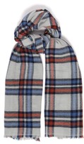 Isabel Marant Simona Checked Wool And Cashmere Scarf - Womens - Blue