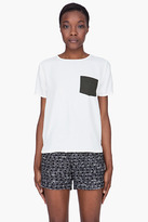 MAISON KITSUNE Cream Silk Block Pocket T-Shirt