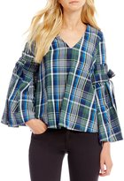Gianni Bini Serena Bell Tie Sleeve Plaid Blouse