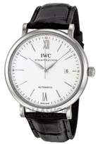 IWC Men's Quartz Stainless Steel and Leather Watch, Color: (Model: IW356501)