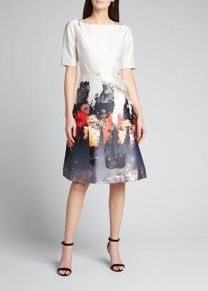 Rickie Freeman For Teri Jon Floral Border Print Short-Sleeve Jacquard Dress
