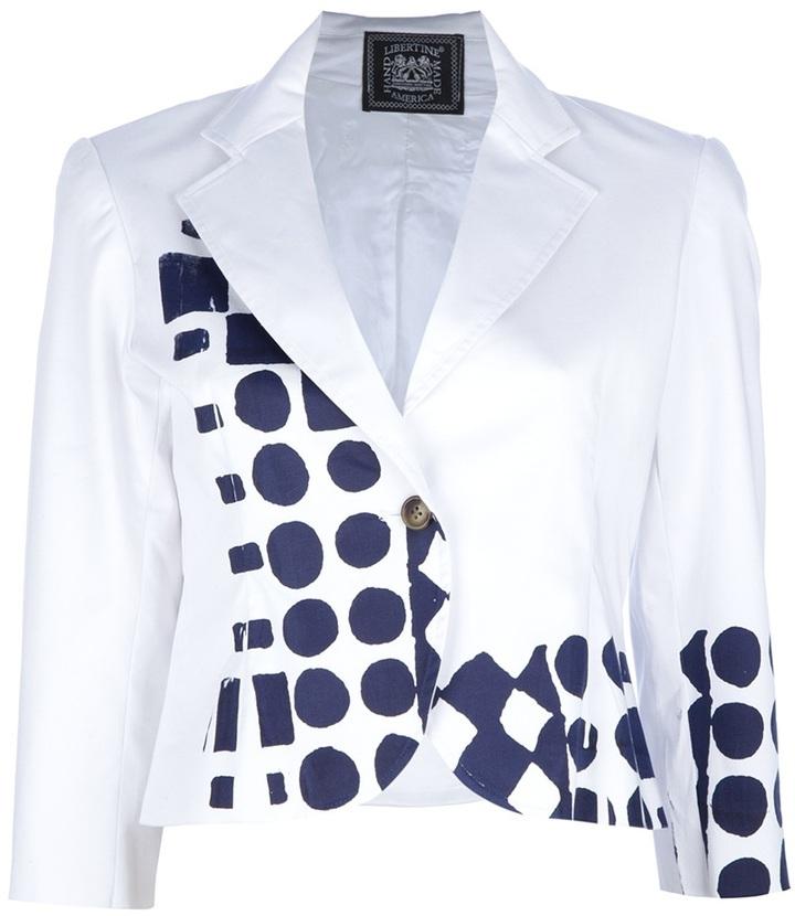 Libertine cropped screen print blazer