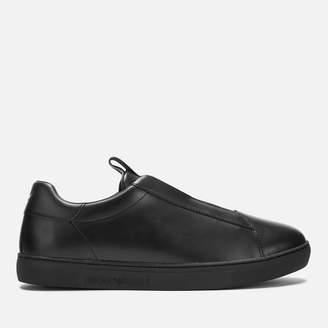 Emporio Armani Men's Stan Leather Slip-On Trainers - Black/Black/Black