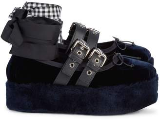 Miu Miu Shearling-Trimmed Ribbon Platforms