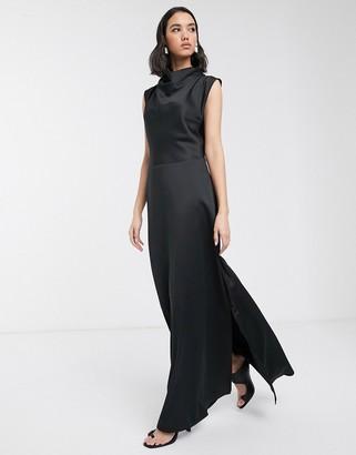 Soaked In Luxury bias cut cowl neck maxi dress-Black