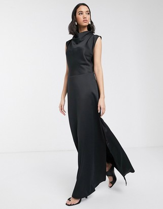Soaked In Luxury bias cut cowl neck maxi dress