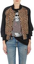 R 13 Women's Leopard-Print Cotton-Blend Bomber Jacket