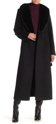 Sofia Cashmere Genuine Fox Fur Collar Waist Tie Wool Blend Long Coat