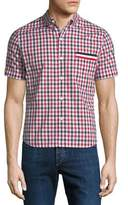 Moncler Gamme Bleu Camicia Short-Sleeve Checked Sport Shirt