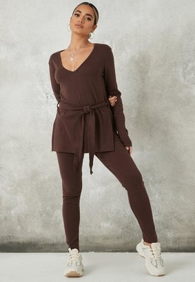 Missguided Chocolate Rib Tie Waist T Shirt And Leggings Co Ord Set