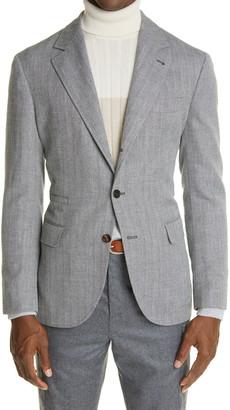 Brunello Cucinelli Herringbone Wool, Linen & Silk Sport Coat