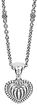 Lagos Sterling Silver Signature Caviar Fluted Heart Pendant Chain Necklace, 16