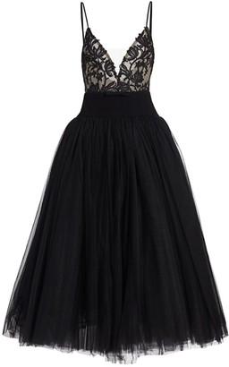 Monique Lhuillier Lace Bodice Tulle Cocktail Dress