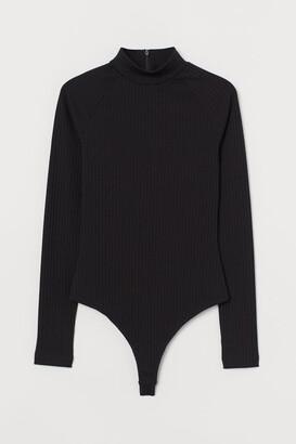 H&M Ribbed Jersey Thong Bodysuit - Black