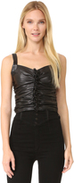 Rodarte Black Leather Ruched Sleeveless Top