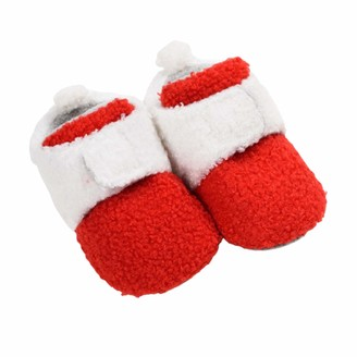 Frobukio Newborn Infant Baby Christmas Shoes Santa Slippers Booties Anti-Slip Socks Boots Winter Warm Prewalkes (Red 0-6 Months)