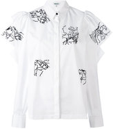 Kenzo embroidery ruffle sleeve blouse - women - Cotton - 38