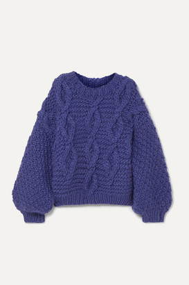 I Love Mr Mittens Diamond Oversized Cable-knit Wool Sweater - Blue