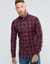 Asos Skinny Shirt In Red Buffalo Plaid With Long Sleeves
