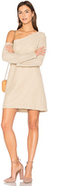 MinkPink Waffle On One Shoulder Dress in Taupe. - size S (also in XS)