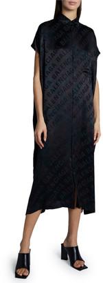 Balenciaga Overdyed Logo Jacquard Silk Shirtdress