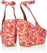 Marc by Marc Jacobs Printed matte-satin wedge sandals