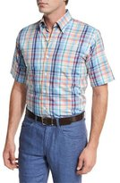 Peter Millar Sailing Plaid Short-Sleeve Sport Shirt, Bright Blue