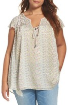 Daniel Rainn Plus Size Women's Embroidered Flutter Sleeve Top