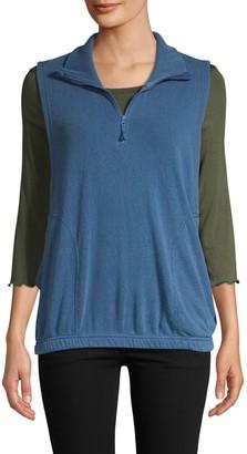 Free People Spread Collar Half-Zip Vest