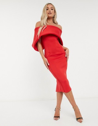 ASOS DESIGN fold-front bardot midi pencil dress in hot red