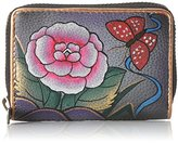 Anuschka Hand Painted Credit and Business Card Holder Antique Rose Pewter Credit Card Holder