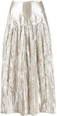 Luisa Cerano pleated creases effect skirt