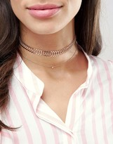 Aldo Rose Gold Layered Choker Necklaces