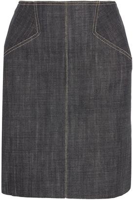 Alaia Lace-up Fluted Denim Mini Skirt
