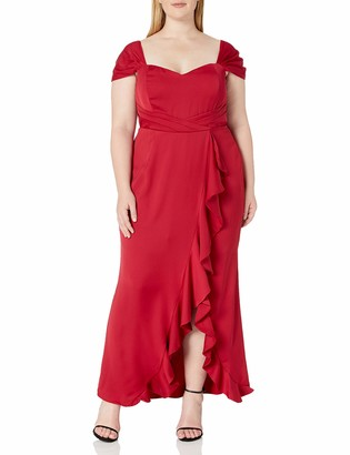 City Chic Women's Apparel Women's Plus Size Fitted Dress with Waist Side Ruffle and hi lo Hem
