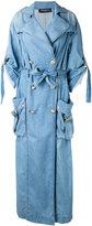 Balmain denim double-breasted coat - women - Cotton - 36
